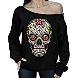 Higlles❤T-Shirt de Noel Imprime Tête de Mort Tuinique Épaule Dénudé Manche Longue Casaul Blouse de Noel Mode Sweat Shirt
