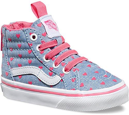 7ee3212443 Vans Toddlers Sk8-Hi Zip (Chambray Hearts) Blue Tr Skate Shoe 7.5 Infants US  - Buy Online in Oman.