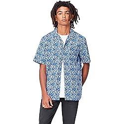 find. Camisa de Manga Corta y Corte Estándar con Estampado Tropical Hombre, Azul (Blue Botanical), Small