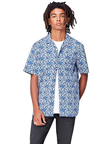 FIND Herren Regulär Geschnittenes Kurzarm-Hawaii-Hemd Blau (Blue Botanical)