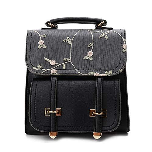 TnXan Casual Daypacks Fashion School Backpack Teenage Girls Leather Women Shoulder Bag Backpack Floral Embroidery Design Rucksack
