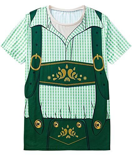 COSAVOROCK Herren Bayerische Oktoberfest Kostüm T-Shirts (AS:6XL, EUR:4XL, Grün)