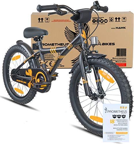 Prometheus Bicicletta per bambini e bambine dai 6 anni nei colori Nero Opaco e Arancione da 18 pollici con freno a V in alluminio e contropedale – BMX da 18″ modello 2019 - 2