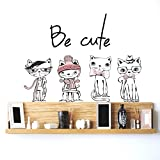DeStudio 'Vintage Poster With Stylish Cat' Wall Sticker (PVC Vinyl, 90 cm x 60 cm)
