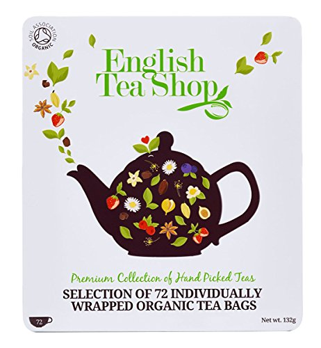 English Tee-set Breakfast (Teegeschenk in edler Metalldose - BIO-Tee-Kollektion mit 72 x original englischem Tee (9 verschiedene Sorten á 8 einzeln kuvertierte Teebeutel) - Geschenkidee)