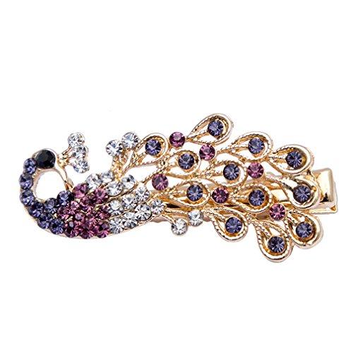 4,5 * 2Cm 1Pcs Crystal Peacock Diamond Haarnadeln Barrette Strass Seite Pony Clip Frauen Mädchen Haar Zubehör Clips Purple (Purple Peacock Pin)