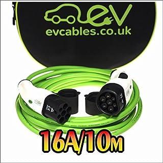 EV Cables Premium Ladekabel mit Bonus Tragetasche 3 Phase Typ 2 bis Typ 2-16 amp | 10 Meter | 11kW - Green
