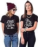 Best Friends Damen T-Shirt BFF Big Sister und Little Sis für 2 (Schwarz, Big-S+Little-S)