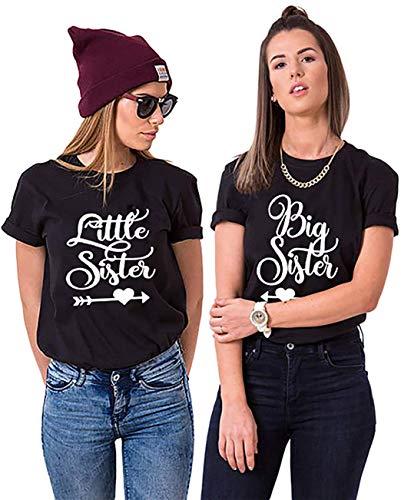 Best Friends Damen T-Shirt BFF Big Sister und Little Sis für 2 (Schwarz, Big-S+Little-M)