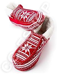Confezioni Giuliana Pantofole Ciabatte Stile Tirolese Rosse Ideali per  Regalo di Natale S M L XL (L 686f69e9f59