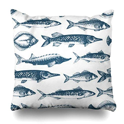Klotr Kissenbezugs Carp Fish Restaurants Emblem for Retro Seafood Wildlife Caviar Delicacy Fishing Flounder Mackerel Pillowcase Square Size 18 x 18 Inches Home Decor Cushion Cases