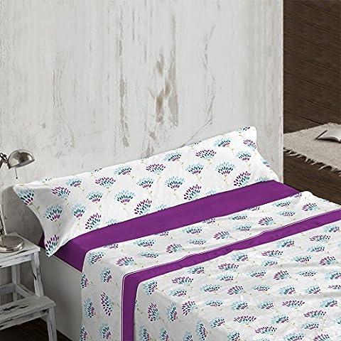 Burrito Blanco - Juego de sábanas tejido de Coralina 936 para cama 150x190/200 cm, color malva