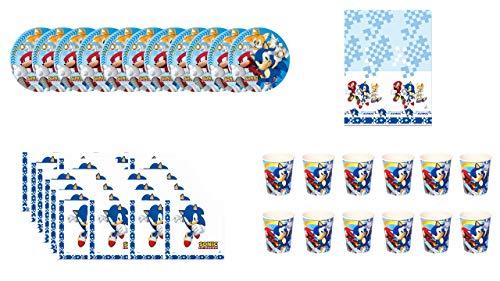 Pack Urlaub und Geburtstag Sonic; Geburtstagspaket; 12 Gläser, 12 Teller 23 cm, 20 Servietten und 1 Plastiktischdecke 120x180 cm ()
