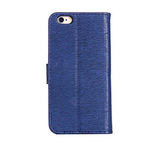 KaseHom iPhone 6/6S 4.7 Pollice Custodia in pelle Portafoglio Ragazza di Fairy Angel Carina GattoFarfallaFiore Modello ProgettareBlingLuccichio Sparkle Diamante (Con Gratuito Penna di Tocco) Stile Blu scuro