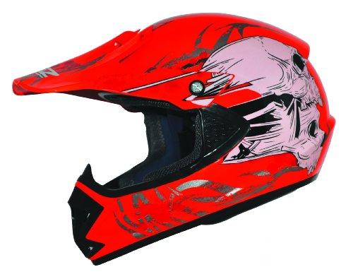ATO-Helme Kids Pro Kinderhelm Crosshelm Schutzhelm Motorradhelm Quadhelm Kinder Cross BMX Helm (S 53/54cm, Rot)