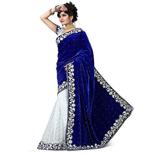 White World Velvet & Net Saree (White World Blue Sarees Sell_Blue)