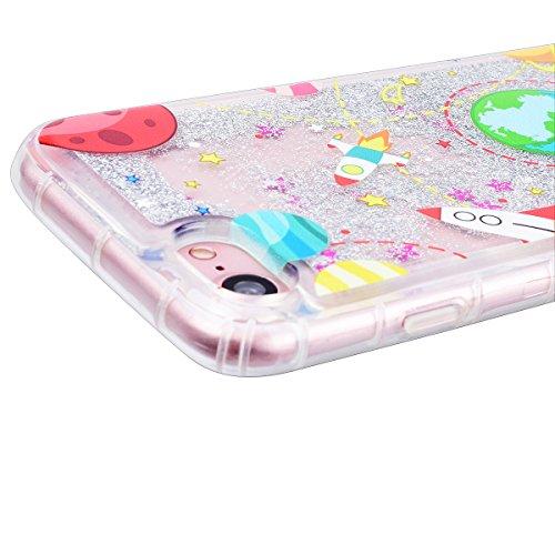 WE LOVE CASE iPhone 7 Plus Coque, Étui Transparente de Protection en Premium Silicone Housse Liquide Souple Mince et Clair, Ecoulement Flottant Bumper Bling Cas Briller Gel Cas Couverture Paillette Mo Argent 1