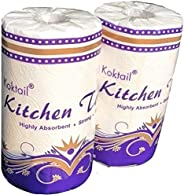 Koktail 2Ply Kitchen Paper Towel Roll - 300 Pulls/Roll - Pack of 2 - Absorbent Thick & Strong Tissue P
