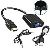 Lucklystar HDMI a VGA adaptador, 1080p HDMI macho a VGA hembra Cable conversor de vídeo con puerto...