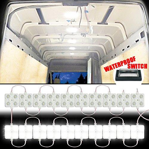 Gampro 12 V 8 W 40 LED Van Innenraumbeleuchtung Kits, weiße LED Deckenleuchten-Kits für Van, Mini Van, Anhänger, LKW, Wohnmobil, Pickup, Ducato, Boot, Sprinter und alle 12 V Fahrzeuge -
