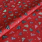 Hans-Textil-Shop Stoff Meterware Weihnachtsbäume auf Rot,