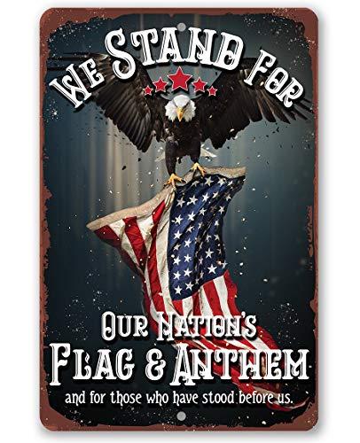 Qui556 Metallschild We Stand for Our Nations, langlebiges Metallschild 8x12 Verwendung IndoorOutdoor Geschenk für Militär und Patriotische Amerikaner