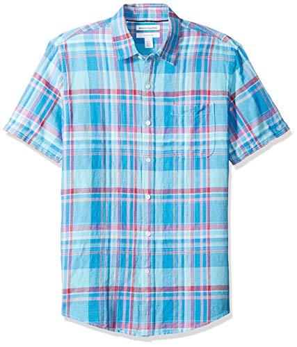 Amazon Essentials Slim-Fit Short-Sleeve Stripe Linen button-down-shirts, Aqua Plaid, US (EU XL-XXL) -