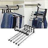 Eribell7, porta-pantaloni in acciaio inox, multifunzione 5 in 1, adatto anche per sciarpe, cravatte, corrimano, appendiabiti, salvaspazio, 2 pezzi