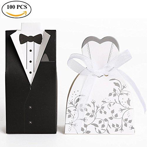 Ouinne Braut & Bräutigam Süßigkeiten Schachtel, 100 Stück Hochzeitskasten Katonage Gastgeschenk...