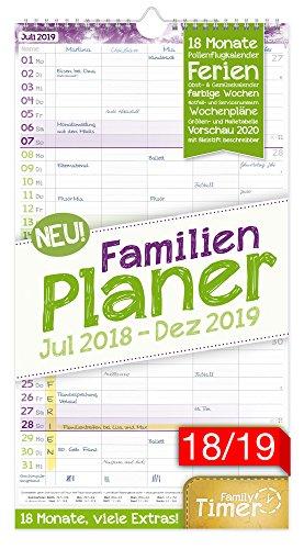 Produktbild FamilienPlaner 2018/2019 23x42cm, 5 Spalten, Wandkalender 18 Monate Juli 2018-Dezember 2019 - Wandplaner, Familienkalender, Ferientermine, viele Zusatzinfos