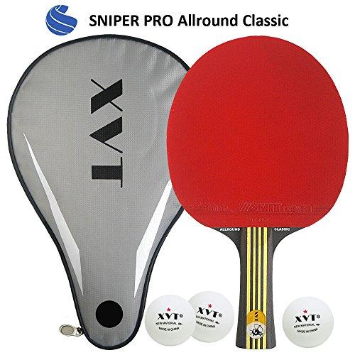 XVT-'Allround Classic' schwarz holz Tischtennisschläger & Fall–C/W Drei Poly 40+ Bälle–cttaa zugelassen Sticky kautschuken
