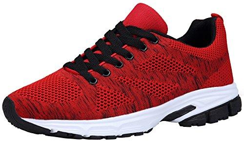KOUDYEN Unisex Zapatillas Deporte Hombres Mujer Zapatillas Running Sneaker Zapatos para Correr,fz888-red-EU36