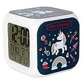 Jyouhin LED Beleuchtet Wecker 7 Färbige Nachtlicht Digital Batterie Quardrat Wecker mit Datum Temperatur Anzeige Einhorn Muster (E)