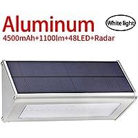 Licwshi 1100 lúmenes La luz solar 48 LED 4500mAh de una aleación de aluminio, impermeable al aire libre, radar de sensores de movimiento, aplicable en el porche, el jardín, el patio, el garaje - La luz blanca (2018 la nueva versión - 1 paquete)