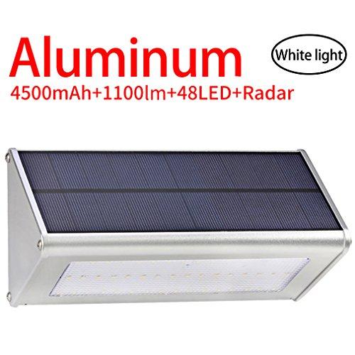 Licwshi 1100 lumens lampe solaire 48LED 4500mAh avec coque en alliage d'aluminum, imperméable en plein air, radar-détection de mouvement, s'appliquant au porche, jardin, cour, garage - lumière blanche(2018 nouvelle version-1 Pack)