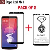 Cedo 5D Edge to Edge 9H Tempered Glass Screen Protector for Oppo RealMe 1 (Black, Pack of 2)