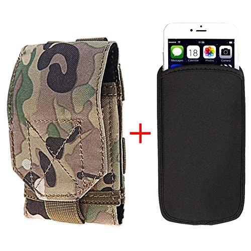 xhorizon® Beutel Hülle Combo [Taktische Molle] [Elastische Neopren] Für iPhone 6 Plus 5.5 Zoll Haken SchleifeGürtelholster Case Hülle Tarnung Grün