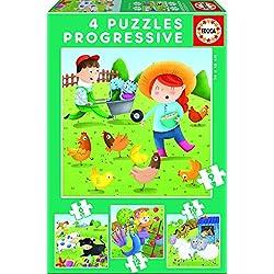 Educa Borrás - Animales de la Granja, set de 4 puzzles progresivos de 6, 9, 12 y 16 piezas (17145)
