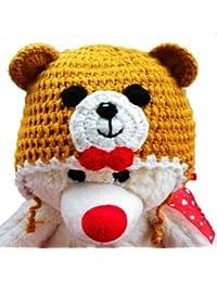 LadyMYP©Handgemachte Strickmütze, Babymütze, Kindermütze, Hüte, 100% Wolle, Mütze Bär
