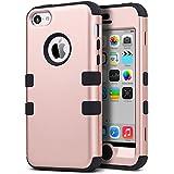 Carcasa iPhone 5c ULAK iPhone 5C caso case funda hñbrida resistente Suave TPU y de PC para Apple iPhone 5C con Protector de pantalla y Stylus (Rosa Oro + Negro)