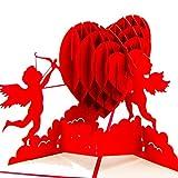 Papier Spirit Valentinstag Karte Glückwunsch und Einladung, Mitbringsel Hochzeit, Glückwunschkarten, Dankeskarten, Valentinstag Karten mit Umschlag Papier Spirit Amor-Herz Grußkarte zum Geburtstag Jahrestag Ostern Muttertag Geschenkkarte - Amor Herz