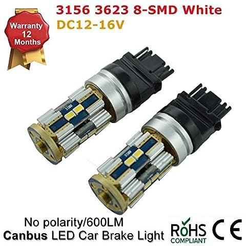 sauvegarde circulation diurnes Blanc ampoules LED inversée lumière 8-smd 3623Blanc 6000K 8W 12V pas de polarité 315631577440T20(Package de 2pièces)