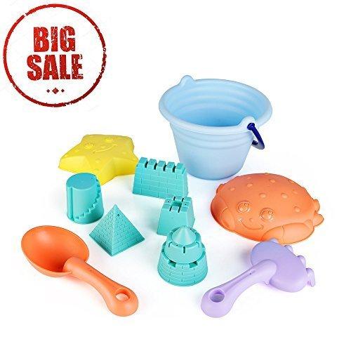 SainSmart Jr. Sandspielzeug 11 teilig leicht elastischen Plastik Grundausstattung Eimer und Sandförmchen
