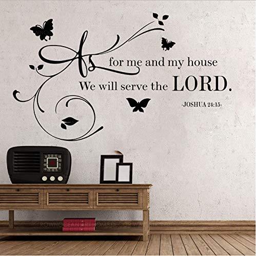 bingcheng Joshua 24 15 Zitat Wandtattoo Wie Für Mich Haus Wir Dienen Dem Herrn Vinyl Aufkleber Bibel Vers Gott Religion Home Art Deco 71X42 cm