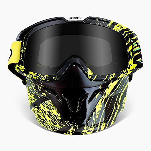 WLZP Motocicleta Gafas Máscara desmontable, Máscara de la motocicleta, Casco UV400 Compatible, Para Airsoft CS Desert Offroad Riding Esquí en moto de nieve Ciclismo, Hombres Mujeres Jóvenes