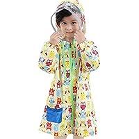 Highdas Children Kids Reflective Brim Double Mesh Polyester Cloth Waterproof Hooded Zipper Raincoat Beige Owl/120-145cm