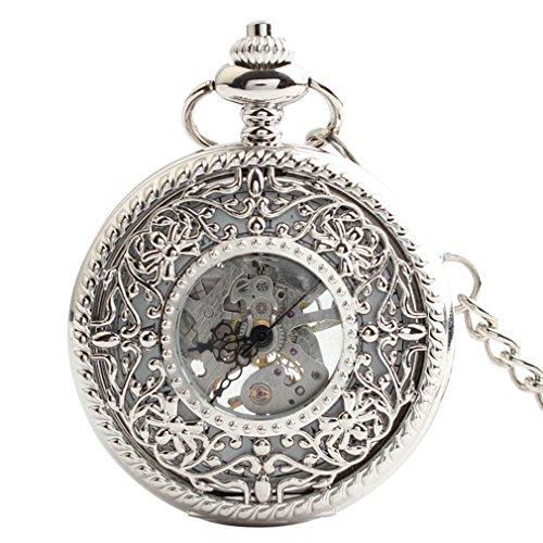 Orrorr Uhr Taschenuhr Halb Automatik Handaufzug Mechanisch Kette Pocket Watch Geschenk Gift reloj de montre de F089