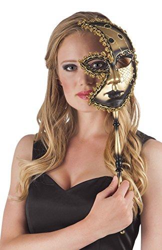 Zauberclown Kostümzubehör: Venezianische Halbmond-Maske mit Stab, ()