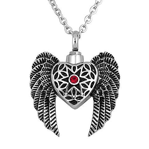 Ailes d'ange Cœur pour cendres Pendentif funéraire Urne Bijoux Collier avec cristal Rouge