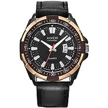 Webla Reloj para hombre, Hombre de lujo aviador blanco mecánico automático fecha día reloj de pulsera de cuero (Negro)